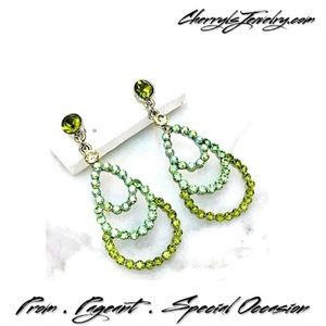 Jim Ball Jewelry - Green Rhinestone w AB Accents Formal Drop Earrings